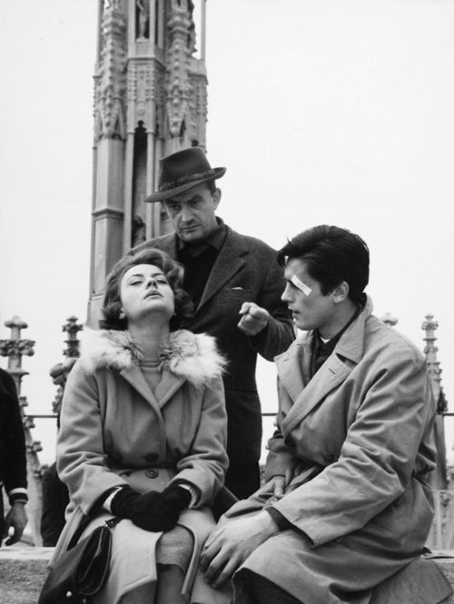 Annie Girardot, Luchino Visconti and Alain Delon on the set of Rocco and His Brothers directed by Luchino Visconti, 1960.
