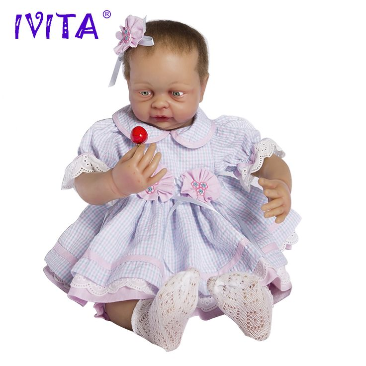 IVITA 22 Inches Silicone Reborn <font><b>Babies</b></font> Realistic Metal Skeleton Blue Eyes Soft Silicone Doll Root Hair Silicone Dolls Reborn