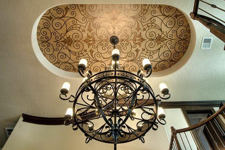 Stenciled foyer ceiling | Custom Modello® Designs Stencil | Artist: Decorative & Faux Finishes