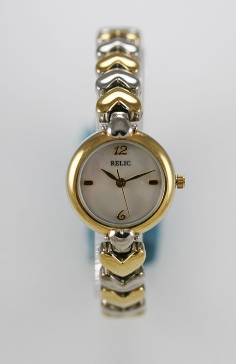 Relic Watch Women Gold Silver Stainless Water Resistant 30m Abalone Shell Quartz
