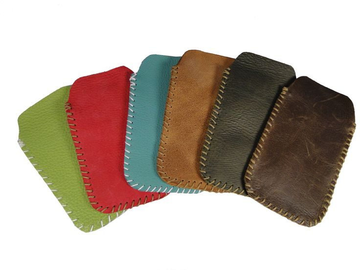 Hand Sewn leather iPhone covers.