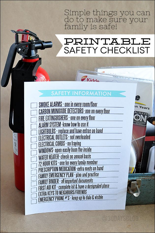 Simple things you can do to make sure your  family is safe!  Printable Safety Checklist -  perfect to add to your family binder! www.thirtyhandmadedays.com