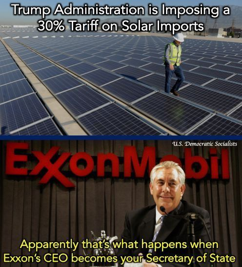 ... And when backwardly set on seeing China and Europe lead the way in 21st century energy technologies, making them cheaper, while subsidizing carbon fuels.  In Germany, on some days, people paid a net NEGATIVE PRICE for energy.   That's what Trump/Exxon do NOT want for the U.S.. #Energytechnology