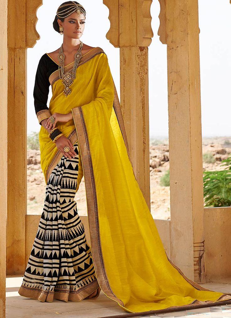 Cbazaar Graceful Bhagalpuri Silk Half N Half Saree