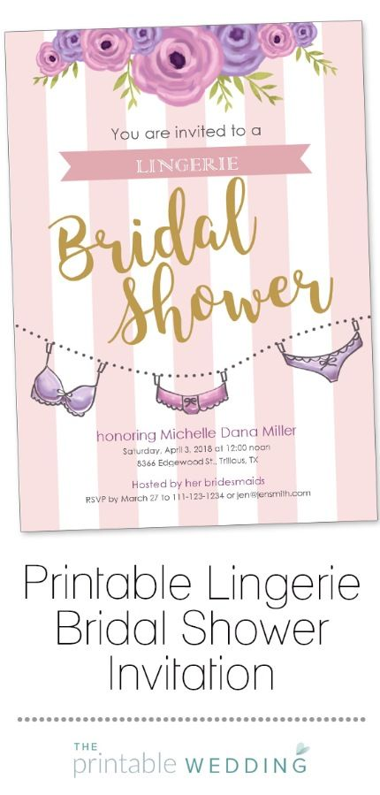 This adorable bridal shower invitation is perfect for those brides having a lingerie shower before the big day! Customize the details and don't forget to add a registry or mention the bride's sizes on the invite so the attendees can have lots of fun picking out the perfect honeymoon lingerie gifts. | Printable Lingerie Bridal Shower Invitation from #ThePrintableWedding