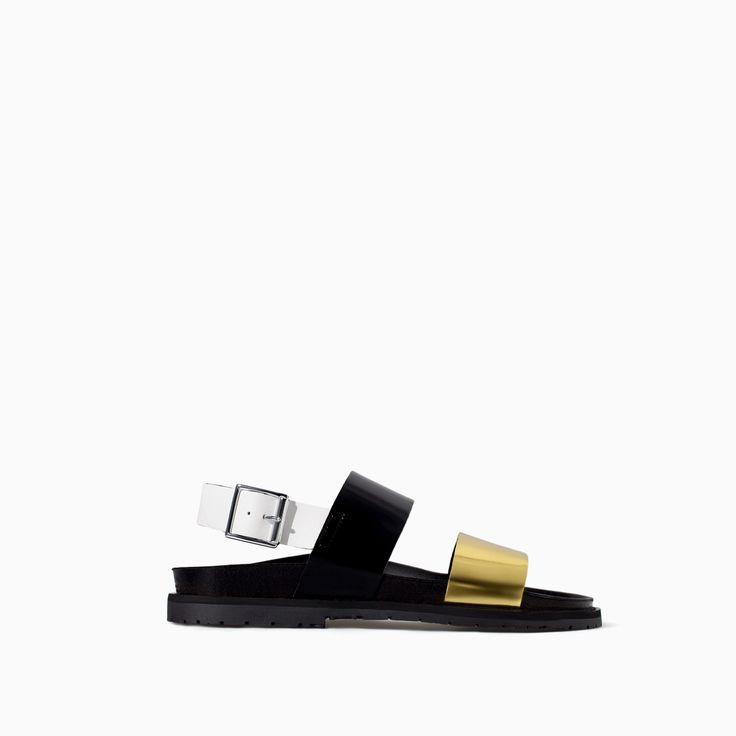 TRICOLOR BIO SANDAL - Shoes - TRF - SALE | ZARA Canada Ref. 3651/301 59.90 CAD UPPER 100% POLYURETHANE LINING 100% POLYURETHANE SOLE 100% THERMOPLASTIC RUBBER