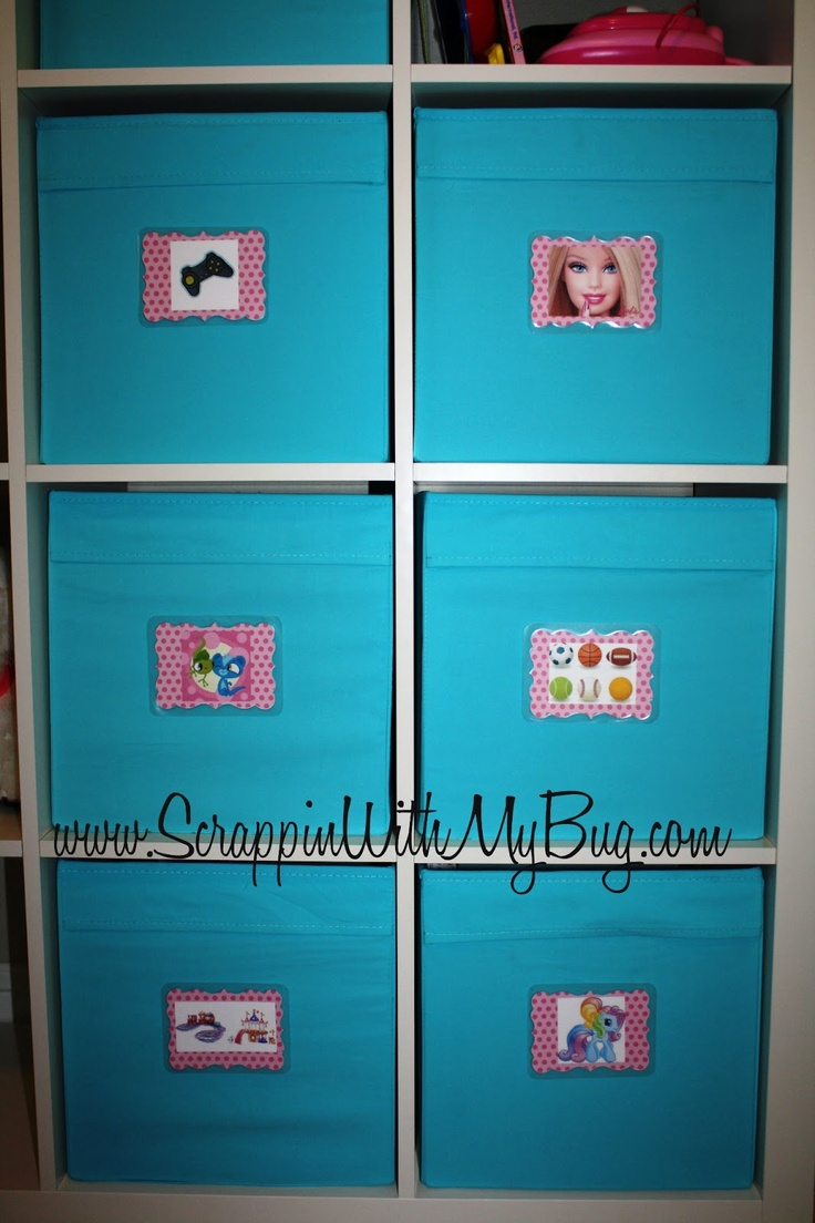 Scrappin with my bug: Organizing the kids Playroom ! For kids that cant read yet