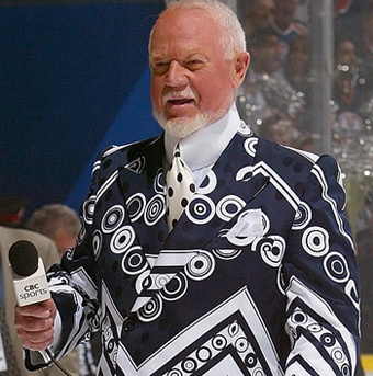 """Only Don Cherry can get away with dressing like this:  an """"understated"""" black and white."""