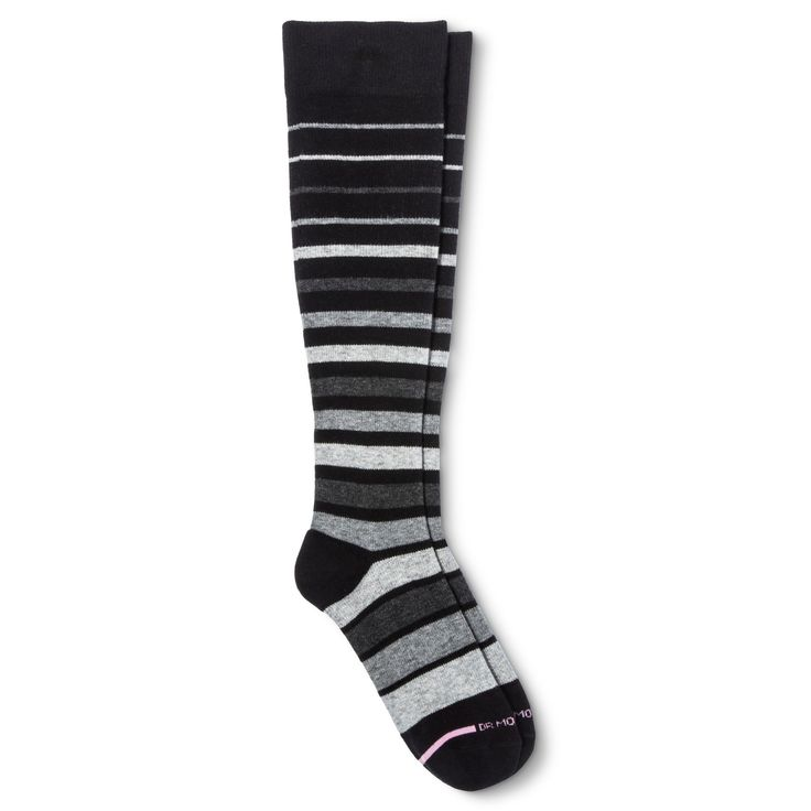 Dr. Motion Women's Mild Compression Variegated Stripes Knee High Socks - Black/Gray 4-10, Size: 9-11