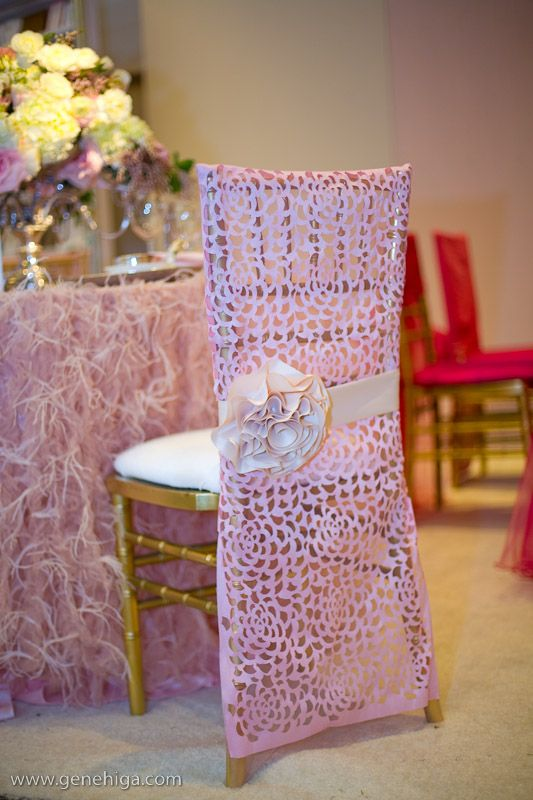 Pink Laser Cut Floral Chair Covers And Feather Table Linens! Photography By  Gene Higa.