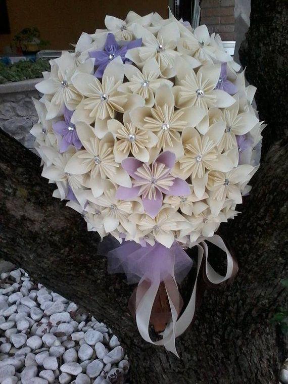 bridal bouquet matrimonio fiori di carta swarovski di BOMBOSTEFY