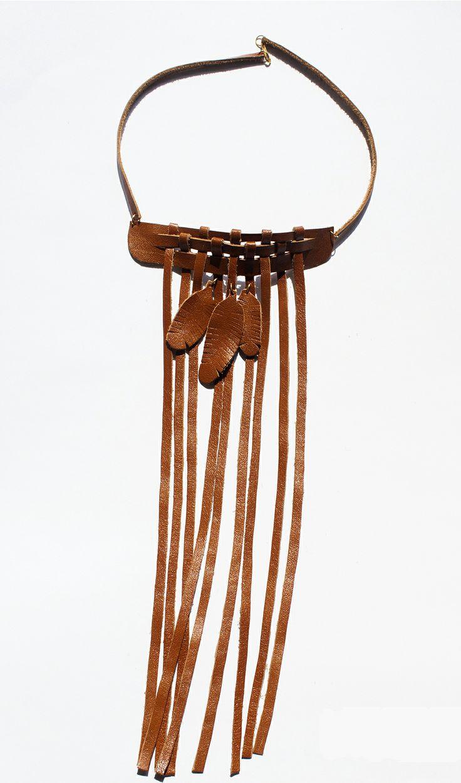 Naszyjnik DinguDingi     DinguDingi Necklace :) #leather #feather #handmade #design #etno