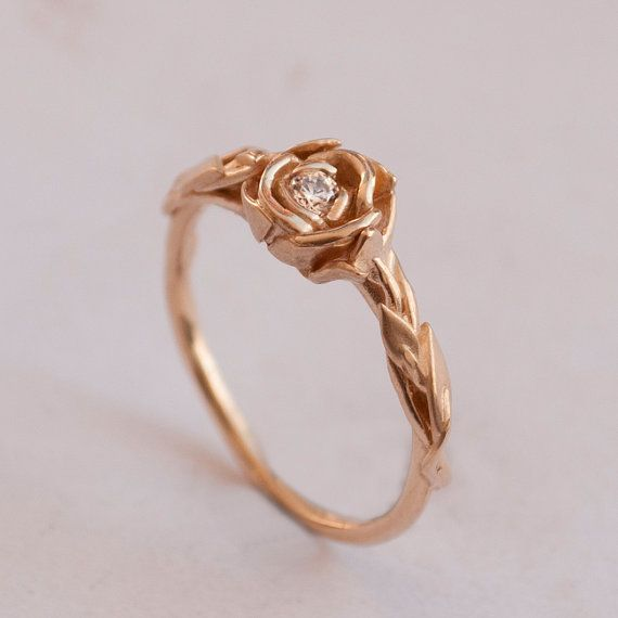 Rose Engagement Ring No.2 - 14K Rose Gold and Diamond engagement ring, engagement ring, leaf ring, flower ring, antique, art nouveau,vintage on Etsy, $580.00