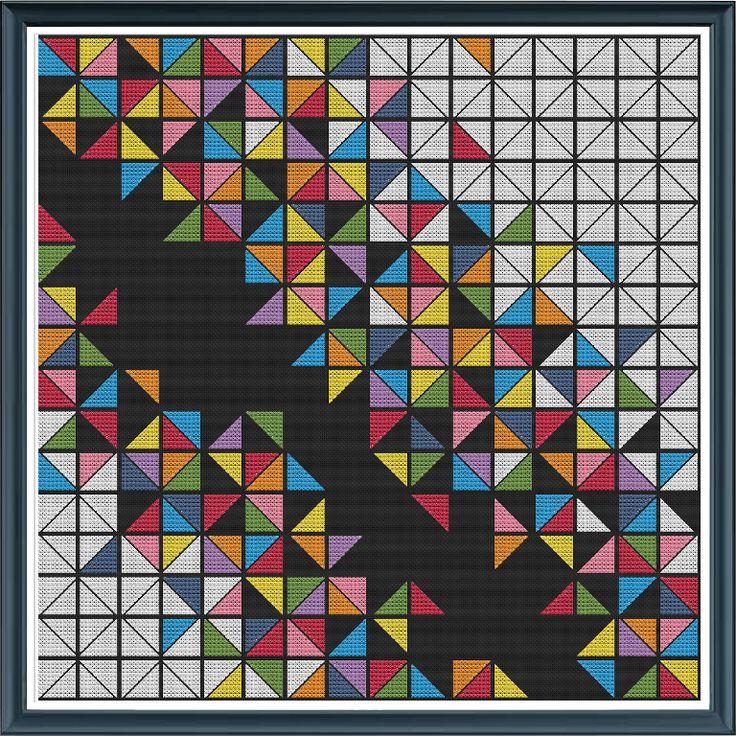 (10) Name: 'Embroidery : Geometric 14 - Triangles (cross stitch)