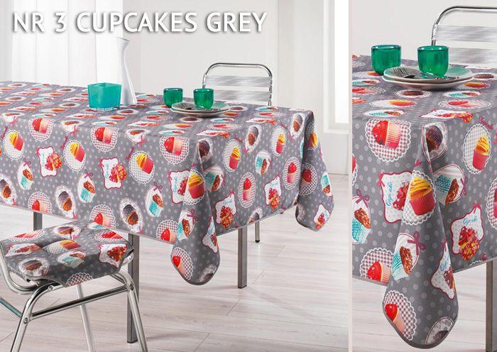 Szary obrus na stół ozdobny z muffinkami