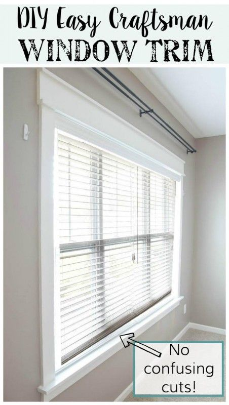 DIY tutorial for installing the easiest DIY window trim. This craftsman style window trim requires NO confusing angled cuts, so it's easy for anyone to do, even a beginner @Remodelaholic