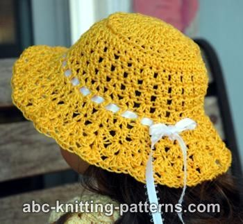FREE crochet pattern for an American Girl Doll Sunshine Hat by ABC Knitting Patterns.