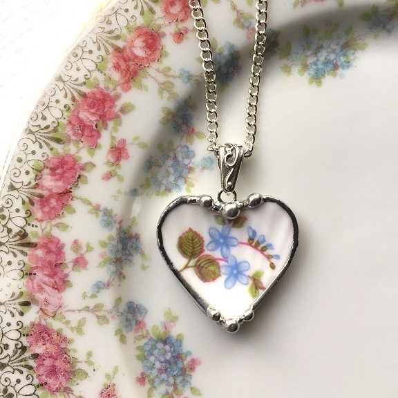Blue for me nots, Shelley fine bone china, broken china jewelry, heart pendant necklace, made from a broken antique porcelain plate by dishfunctionldesigns on Etsy