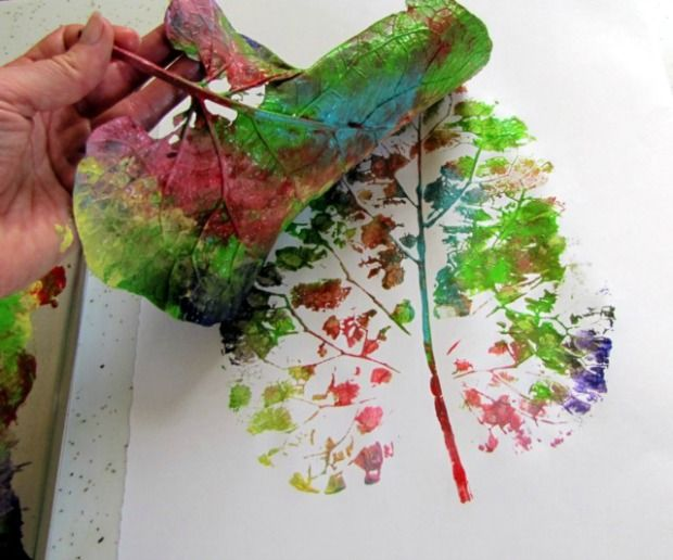 paint the leave lots of different colors then place it paint down onto the paper to make a print!