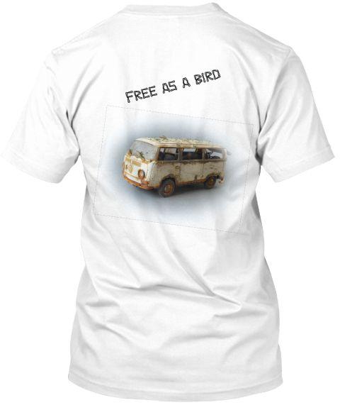 Free As A Bird Jjj White T-Shirt Back