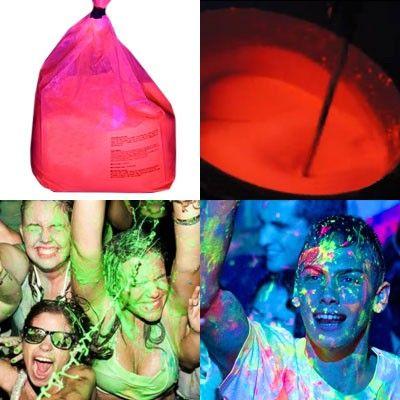 Vernice a schizzo UV Splash Party!! Mischiando  2,2 kg di di vernice in polvere Arancio con acqua otterrete 25 litri di vernice UV Splash. Il colore si illumina  fortemente sotto la luce UV!