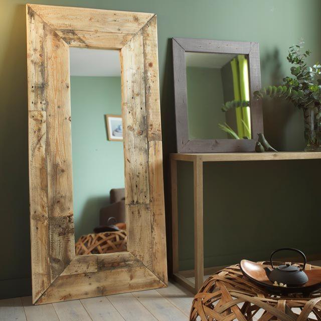Miroir wood 74 x 62 cm castorama miroir luminaire for Miroir castorama