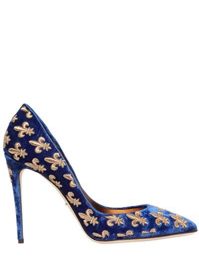 Dolce & Gabbana 105MM LILY EMBROIDERED VELVET PUMPS