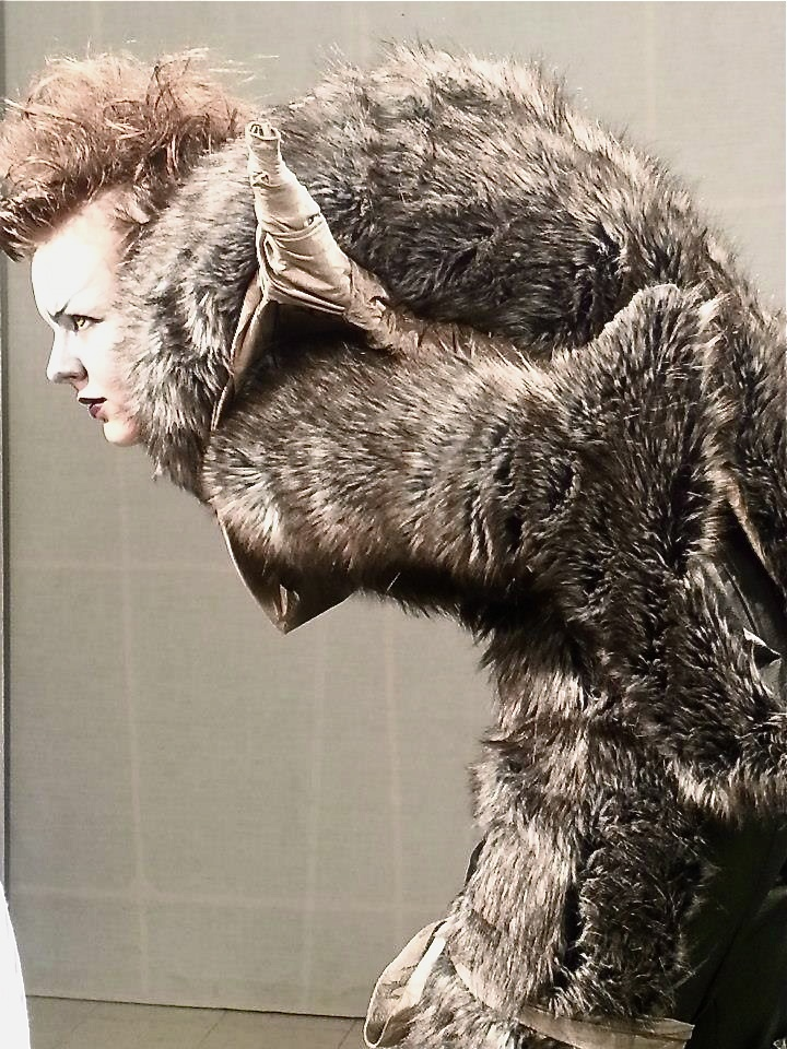 I've created this costume to represent the werewolf from the original stories from The Red Riding Hood. I hope you like it as much as I do! It took me 2 months from the first sketches to the complete outfit. Made from Fake leather and fake fur. Made by me, just as the make up and hair.     Designed and made by Karin Bachman.
