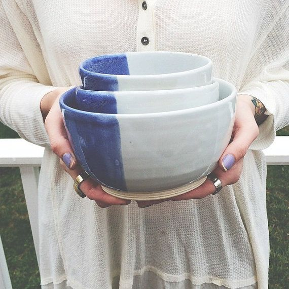 Blue & White Nesting Bowls by Ann Margaret Ceramics