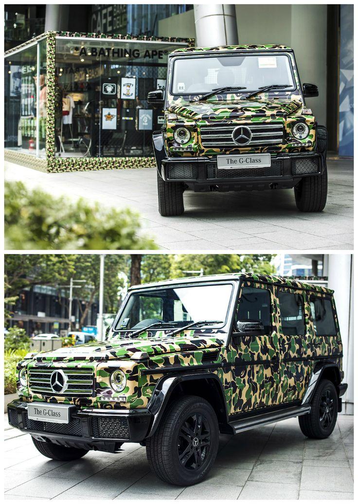 Mercedes-Benz G-Klassen parkeret i Singapore, pakket ind i et ikonisk camouflageprint.
