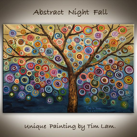 Abstract Nightfall,  Contemporary Huge Decorative original modern painting, one of a kind, 36x24