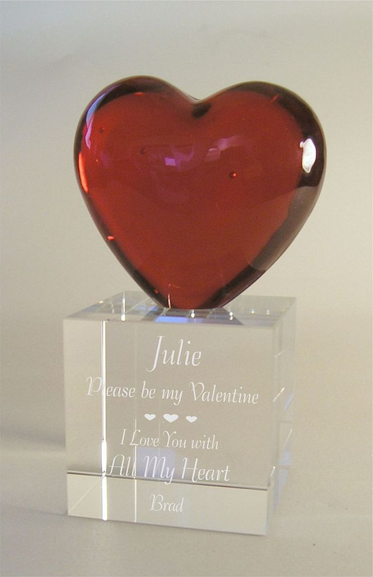 Red Glass Heart With Crystal Base