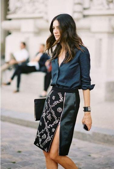 Pencil skirt + silk shirt.