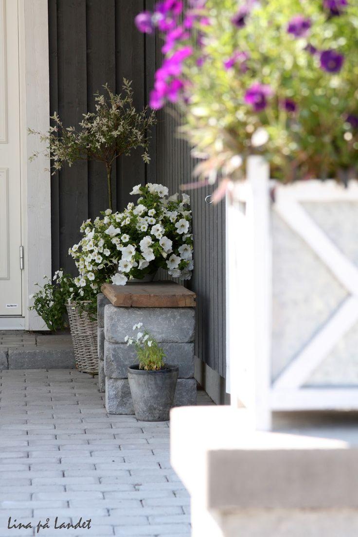 En charmig och enkel sittbänk vid entrén      Tillverkad av en gammal golvplanka och ett par murstenar           Igår eftermiddag hade jag...