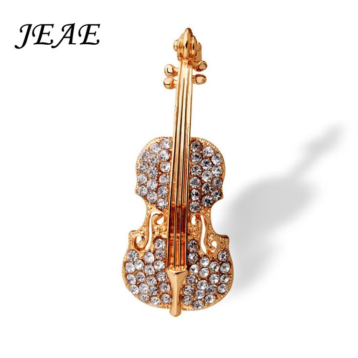 Pernos de la moda Accesorios pin de solapa Amor Violín Cristal Plateado del Oro Broches Bufanda para Las Mujeres Rhinestone Broche Broche de la boda