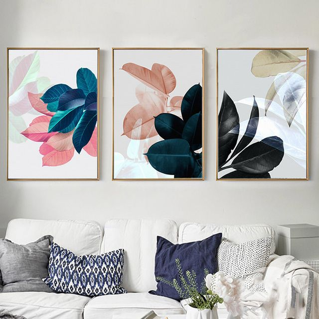 Nordic Art Paintings Pared Pictures For Living Room Carteles Plantas Hojas Ca Decoracion Paredes Cuadros Decoracion Con Cuadros Cuadros Decorativos Para Living