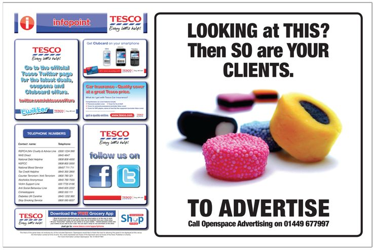 Reach Thousands of local people with an advert at Tesco.