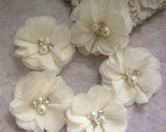 Chiffon flowers pearl and rhinestone flowers by BlingBasement