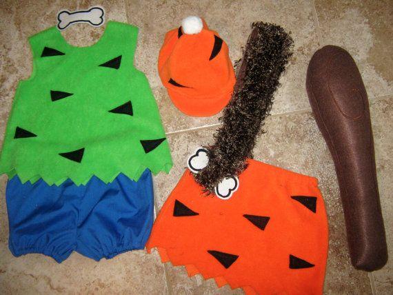 Homemade Pebbles and Bamm Bamm kids costume