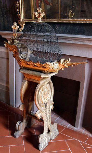 Toscana Cerreto Guidi Villa Medicea Stabbia - Furniture, Gabbia per uccelli a forma di nautilo, XVIII-XIX sec. ca. #TuscanyAgriturismoGiratola