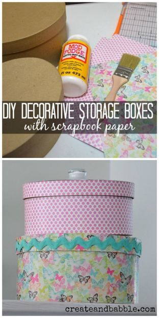 How to make pretty, decorative storage boxes to match your decor using scrapbook paper and mod podge.