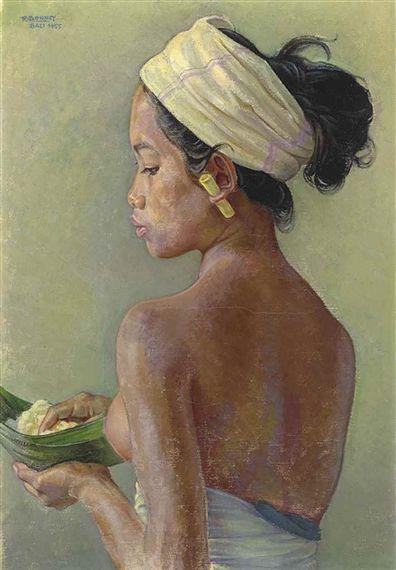 Balinese Beauty Holding a Rijstbald - Rudolf Bonnet
