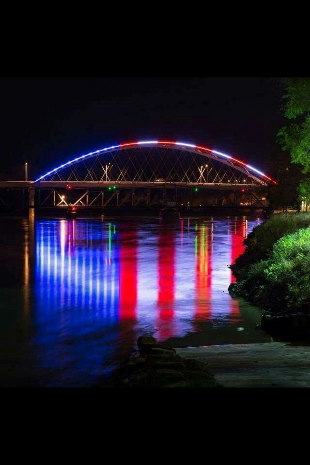 The bridge from Missouri To Kansas. Look at the reflection in the water. How…
