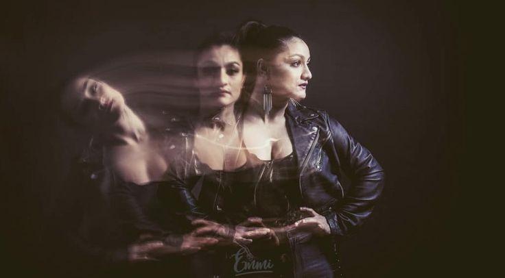 By Emmi, double exposure, kaksoisvalotus, portrait, tanssija, dancer, leather jacket, nahkatakki