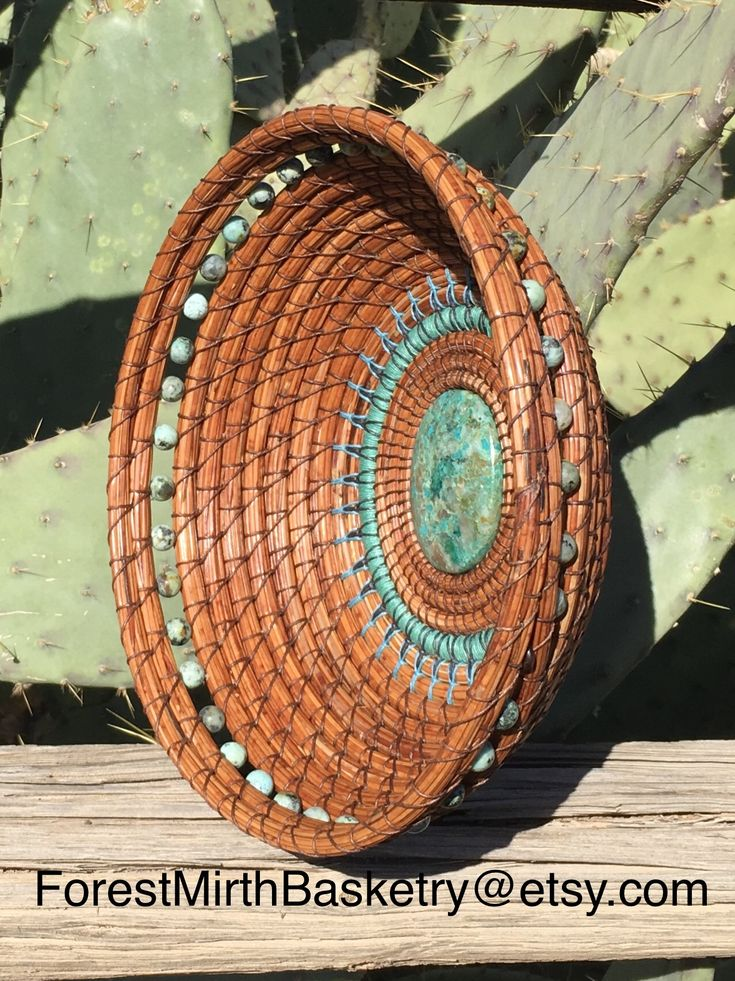 Chrysocolla cabochon, African Turquoise beads, and waxed linen thread make this pine needle basket beautiful.