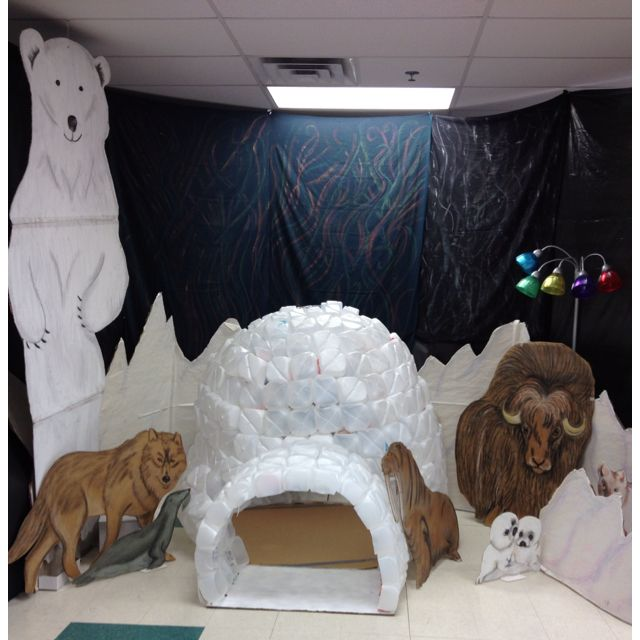 Igloo in classroom is a great way to foster reading. The kids can't wait to choose a book to sit inside and read!