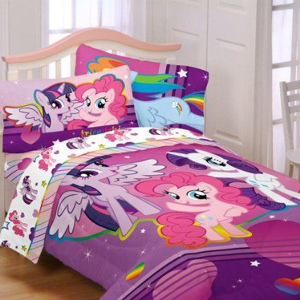 Here is a great idea for your childs bedroom, this My Little Pony Bedding Set will be a excellent addition with its great color and design. This My Little Pony Bedding Set has three of their favorite characters Twilight Sparkle, Rarity, and Pinky Pie.