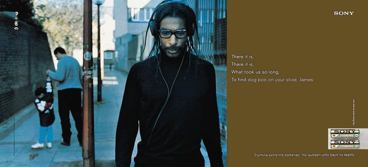 Read more: https://www.luerzersarchive.com/en/magazine/print-detail/sony-san-diego-465.html Sony, San Diego (This campaign features the lyrics of well-known songs, which, as the batteries of the walkman run down, are replaced by everyday banalities overheard in the respective surroundings.) Tags: Steen Sundland,Richard Flintham,Sony, San Diego,Andy McLeod,DDB, London