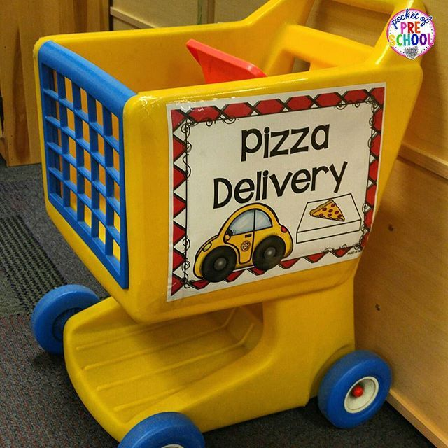 Pizza Restaurant in the dramatic play center. Make a pizza delivery truck with a shopping cart.