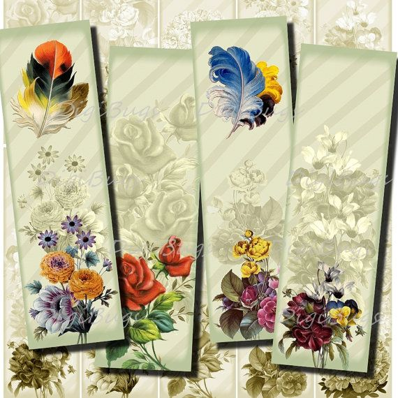 Printable Bookmarks, Romantic Flowers with Feathers  by DigiBugs